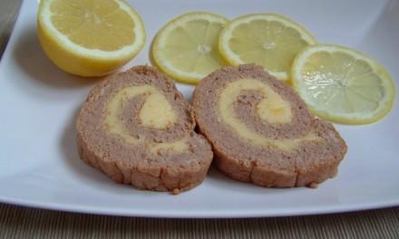 Gesztenyés piskótatekercs citromkrémmel töltve